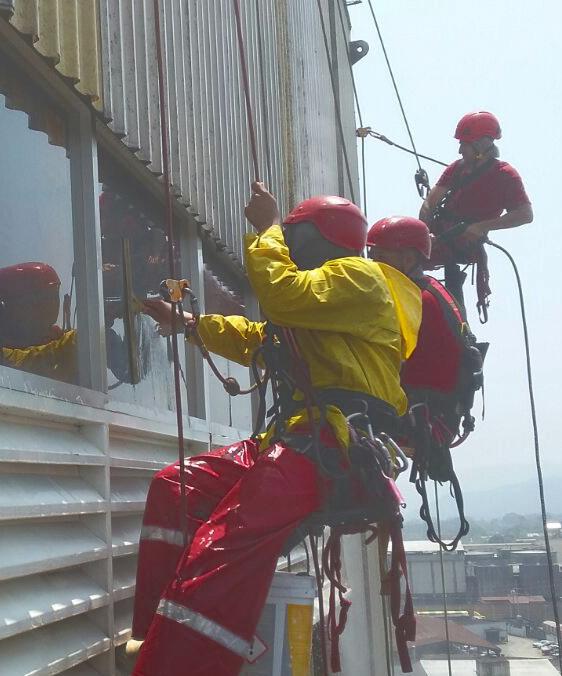 Trabajo de limpieza de ventanas en Industria